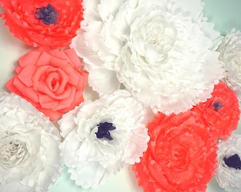 9 Piece Giant Crepe Paper Flowers Set