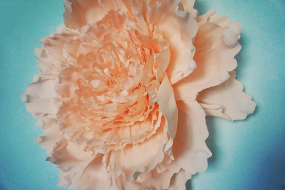 Giant crepe paper peony wall flower home wedding by for Crepe paper wall flowers