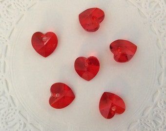 Swarovski Crystal Hearts 10mm Pendants 6228 Siam Red 6 pcs