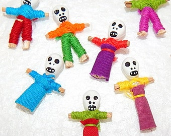 12 Tiny Day of the Dead Halloween Worry Doll Skeletons