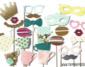 Tea Party Props - Limited Edition Photo Booth Props ~ Deluxe Set of 21 Props ~ Garden Tea Party Photo Booth Props ~ Limited Qty Available