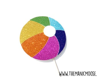Beach Ball Photo Booth Props - Summer Pool Party Photo Booth Prop - GLITTER Beach Ball Prop