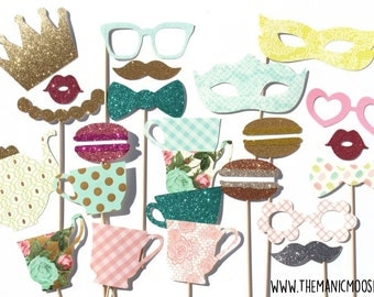 Limited Edition Photo Booth Props ~ Deluxe Set of 21 Props ~ Vintage Tea Party Photo Booth Props ~ Limited Qty Available!