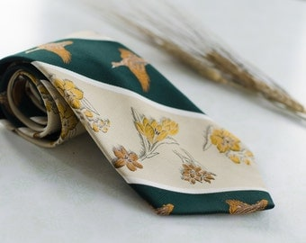 Spring Tie / Vintage Necktie for Woodland Rustic Wedding - Groom Accessory - Flowers & Duck Pattern Forest Green + Yellow