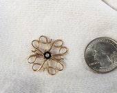 "Avon 10k solid gold Service Award Pin w/ center diamond President's Club 1960s vintage 1"""