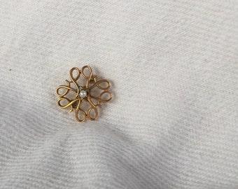 "Avon 10k solid gold Service Award Pin brooch center pearl President's Club vtg 5/8"""