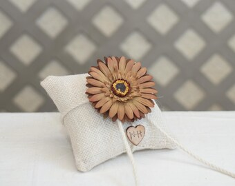 Personalized burlap ring bearer brown daisy flower with bride and groom initials stamped on wood heart