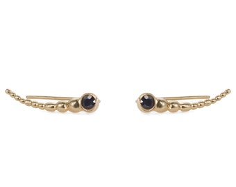 14K Gold Climber Earrings - Dark Sapphire Gold Earrings - Solid Gold Ear Climber Earrings - Sapphire Gold Climbers - Dainty Gold Earrings