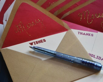 Merry Script Handwritten Glitter Envelope with Greetings Holiday Digital Print Note Cards - Assorted Set of 8