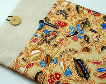 SALE - iPad Air case, iPad cover, iPad sleeve with 2 pockets, PADDED - Traditional flower pattern (192)