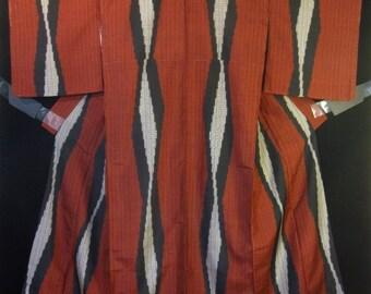 Vintage Meisen Silk Japanese Kimono - Red /Black / Off White Plaid Tatewaku Wavy Vertical Pattern.