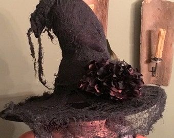 Witch Hat Black, black netting torn