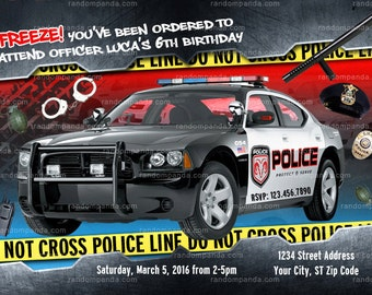 Police Officer Invitation, Policeman Birthday Invite, Police Car Party