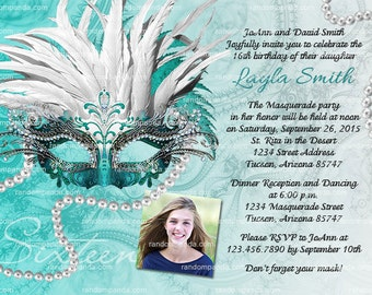 ON SALE Personalize Masquerade Ball Invitation, Teal Sweet 16 Party, Masquerade Mask Invite