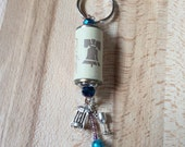 Wine cork key chain, wine lovers, liberty bell cork, beaded key chain, liberty creek wine cork, wine charms, teal and pink beads