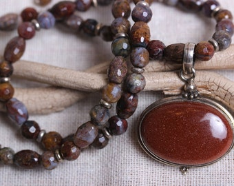 Enchanting Goldstone & Sterling Pendant with Facet Cut Pietersite Beaded Necklace