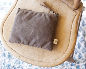 Medium Waxed Cotton Zip Pouch | Pencil Case