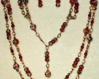 Vintage Cloisonne' Necklace Set