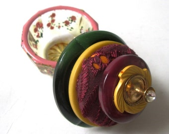 Vintage Button Ring and Proposal Box:  Burgundy, Yellow and Green Vintage Button and Hand Painted Pink Roses Glass Salt Cellar Jewelry Box