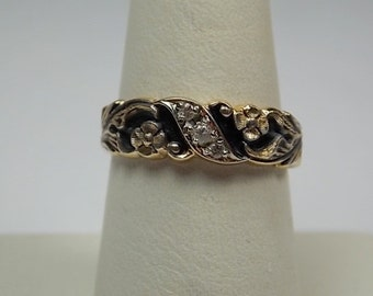 Artcarved Diamond wedding Band carved flowers with Black Accents 6.5mm wide 4.4gm size 7.25