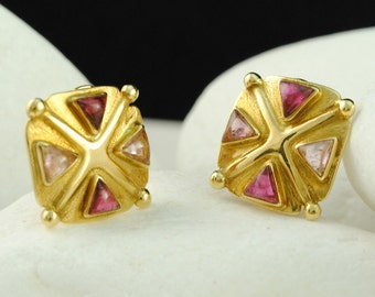 Pink & Light Pink Tourmaline Archaic Clip Earrings, Solid 18K Gold - FREE Shipping