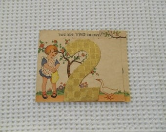 Vintage 2nd Birthday Card  Illustrated  1930s Cute Card