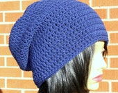 Navy Blue Crochet Slouchy Beanie Hat Unisex. READY TO Ship