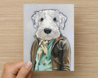 Theo - Greeting Card - Blank Inside - Dogs In Clothes