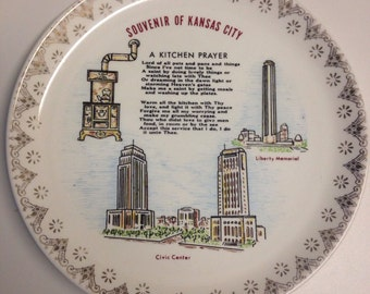Vintage Souvenir Plate Kansas City Kitchen Prayer