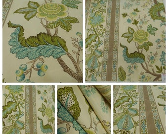 "Brunschwig &Fils-Bellary Cotton Print in Aqua-Taupe Pc-w 32.5""x36"" Long -Jacobean-Italian Fabric"