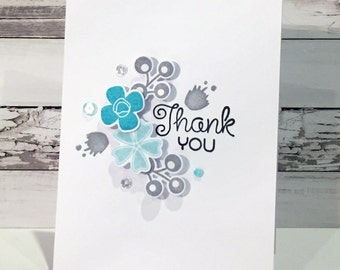 Blue Blooms Thank You Card