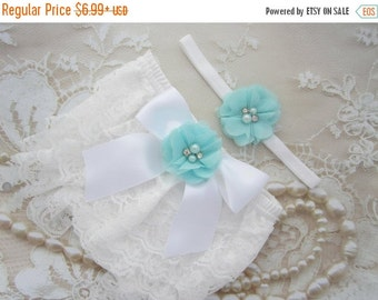 SALE 25% OFF - White Lace Bloomers with a Satin Bow and Turquoise Flower AND/Or Flower Headband, newborn photos, by Lil Miss Sweet Pea Bouti