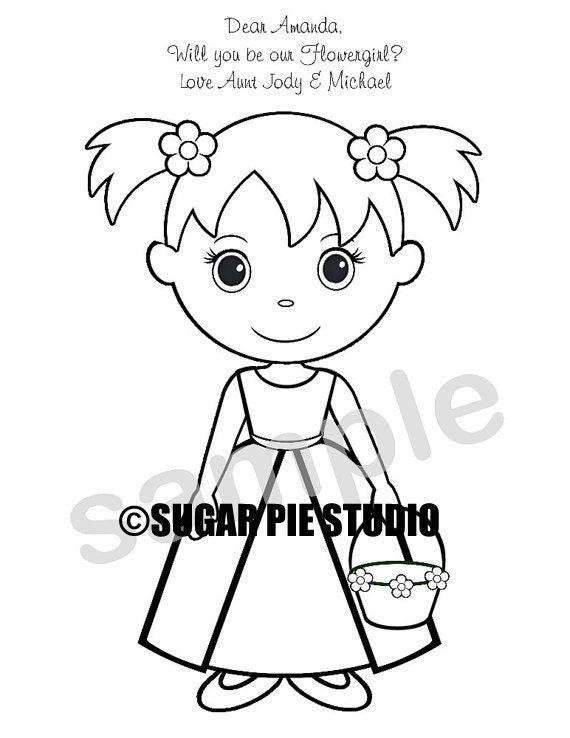 personalized printable flowergirl ringbearer wedding party favor childrens kids coloring page book activity pdf or jpeg file - Flower Girl Coloring Book