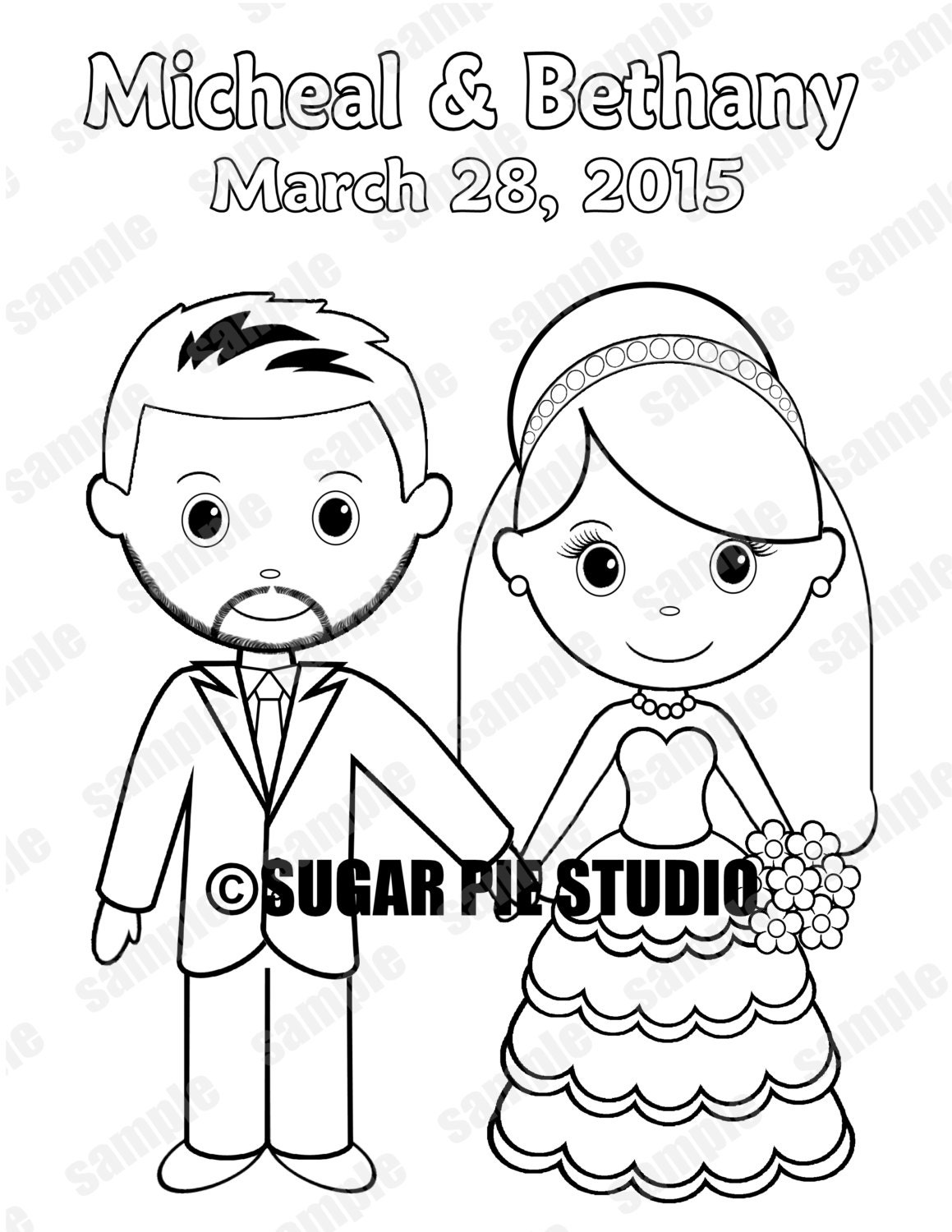 Wedding Coloring Pages Pdf : Personalized printable bride groom wedding party favor