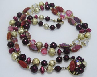 Japan Two-Strand Necklace -  Burgundy and Gold Plastic Beads - Multistrand Necklace