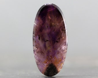 Cacoxenite in Amethyst Melody Stone Cabochon, Super Seven Rare Gem with Gold, Golden Inclusions (CA5812)