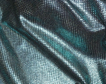 """Leather 12""""x12"""" Light Blue Metallic FISH Scales on Black cowhide 3.5 oz / 1.4 mm PeggySueAlso™ E3400-18  LIMITED"""