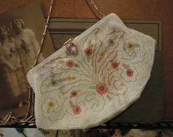 Vintage Paris France White Seed Beaded Handbag Purse / Flower Details / Made in France / Limoges Button Closure / Jorelle Bags