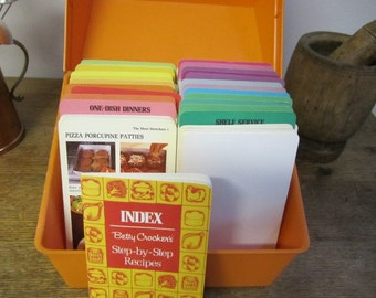 Super Betty Crocker Recipe Card Library. Recipe Card Box. Orange Recipe Card Box