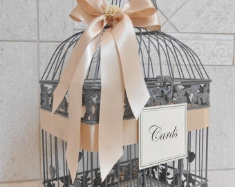 Large Gray and Blush Wedding Card Box / Wedding Card Holder / Birdcage Card Holder / Wedding Decor / Large Card Holder / Gray Birdcage