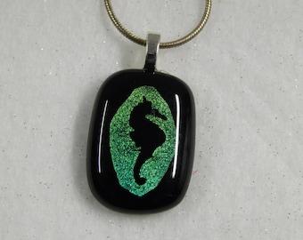 Fused Glass Pendant, Dichroic Pendant Black, Dichroic Glass, Fused Glass, Fused Glass Jewelry,