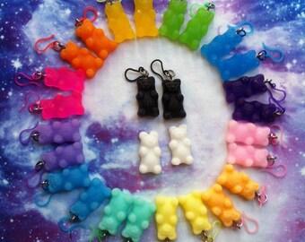 Resin Gummy Bear Earrings, Fairy Kei, Kawaii, Gummi