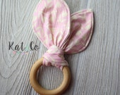 Flash sale!  Pink tulip  Organic bunny ear teether ring toy with crinkle material.  Ready to ship.
