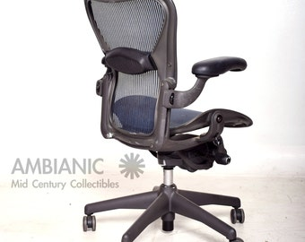Herman Miller Aeron Office Chair Size B Blue Seat and Back rest
