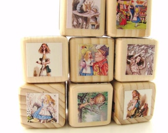 Alice in Wonderland. Baby Blocks Nursery Decor & Baby Shower Decoration. Whimsical. Spring. Classic gift