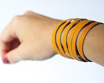 Leather Bracelet / Original Sliced Cuff / Creamsicle