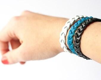 Braided Leather Bracelet Trio / Team Spirit / Carolina
