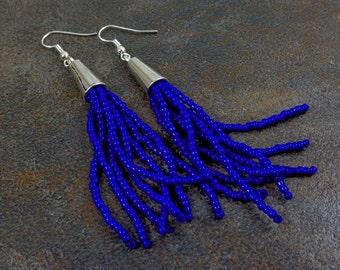 Tassel Earrings, Blue, Fringe Earrings, Beaded Tassel Earrings, Statement Earrings, Bohemian, Boho, Gift for Her, Seed Bead Earrings