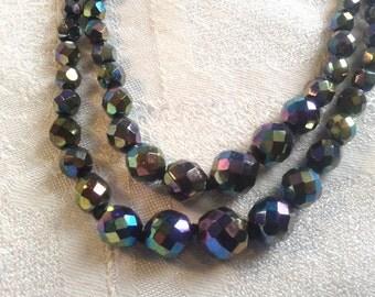 Vintage Double Strand Carnival Glass Czech Bead Necklace, 50s, 60s