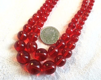 Vintage Glass Bead Necklace, Cherry Red, Double Strand.